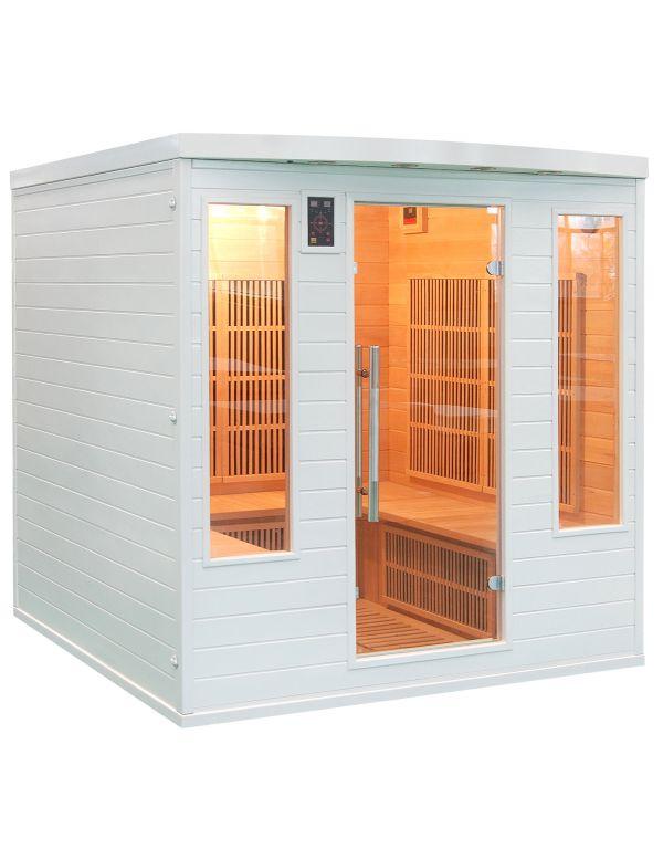 Sauna ad infraossi 4/5 posti bianca con irradiatori in carbonio