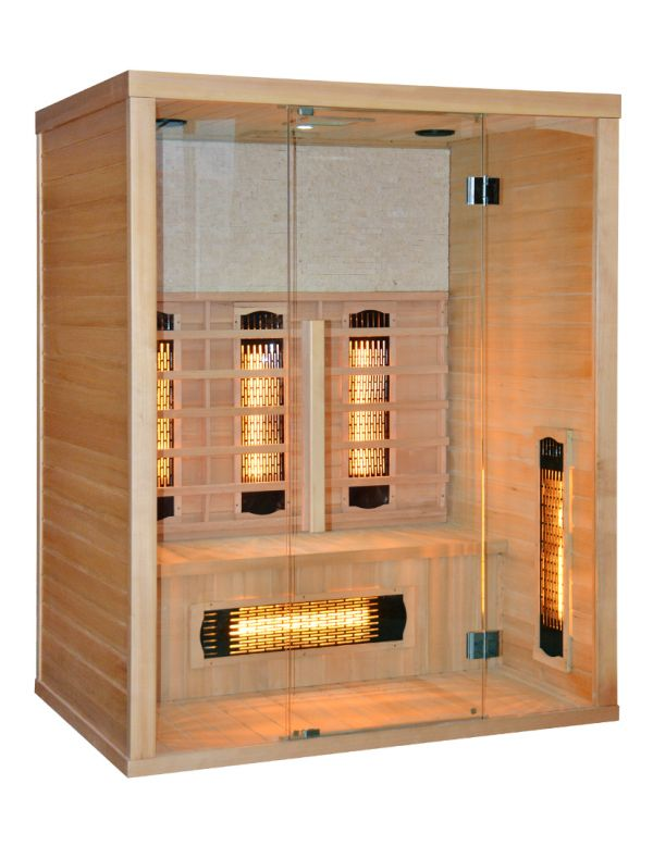 sauna ad infrarossi 3 posti con irradiatori in vetro cromoterapia