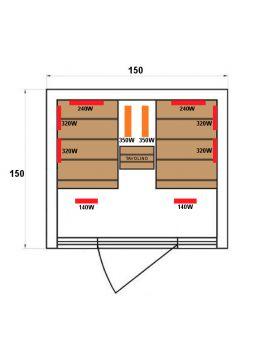 SAUNA AD INFRAROSSI 2 POSTI CON 2 SEDUTE SDRAIO IRRADIATORI IN CARBONIO E CERAMICA FULL OPTIONAL