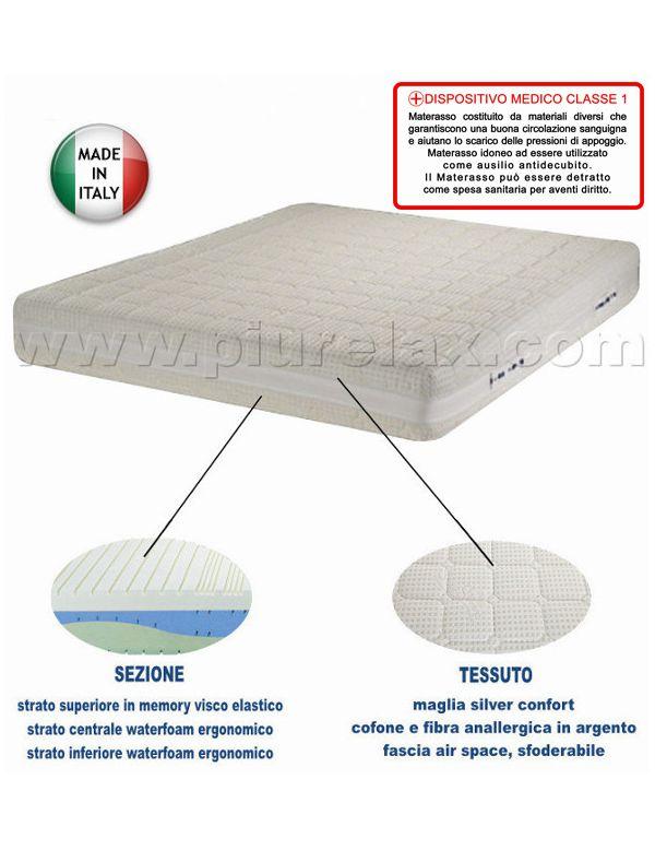 materasso in memory dispositivo medico silver confort misura 160x190