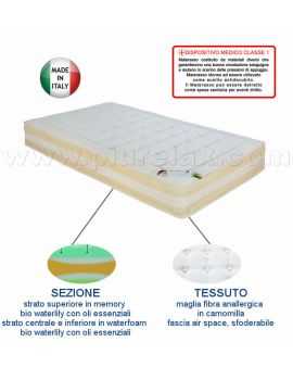 MATERASSO SINGOLO MEMORY MEDICAL BIO MIND WATERLILY MAGLIA IN CAMOMILLA 80X190X26