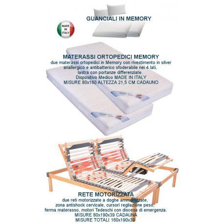 2 reti elettriche ammortizzate +2 materassi memory silver +2 guanciali