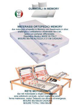 DUE RETI ELETTRICHE MOTORIZZATE AMMORTIZZATE + DUE MATERASSI MEMORY SILVER + DUE GUANCIALI MEMORY