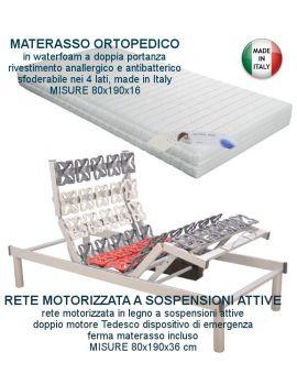 RETE ELETTRICA MOTORIZZATA A SOSPENSIONI ATTIVE CON MATERASSO IN WATERFOAM SFODERABILE