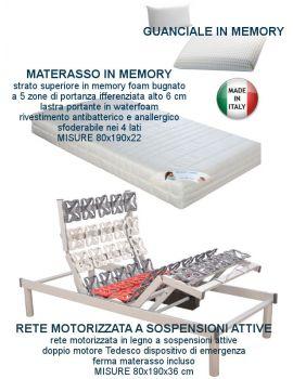 RETE ELETTRICA MOTORIZZATA A SOSPENSIONI ATTIVE CON MATERASSO IN MEMORY SFODERABILE E GUANCIALE IN MEMORY
