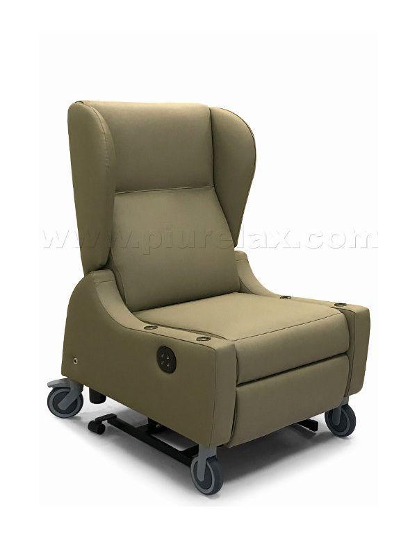 Poltrone Per Disabili Con Ruote.Poltrona Disabili Tessuto Ignifugo Silvertex Braccioli Removibili