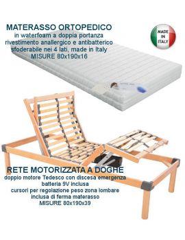 OFFERTA EONOMY: RETE MOTORIZZATA + MATERASSO ORTOPEDICO 80X190
