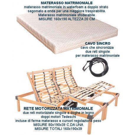 rete elettrica a doghe in legno matrimoniale con materasso waterfoam.