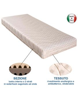 MATERASSO SINGOLO IN WATERFOAM CON RIVESTIMENTO ANALLERGICO E ANTIBATTERICO SFODERABILE
