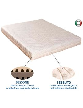 MATERASSO MATRIMONIALE IN WATERFOAM CON RIVESTIMENTO ANALLERGICO 160X190X20