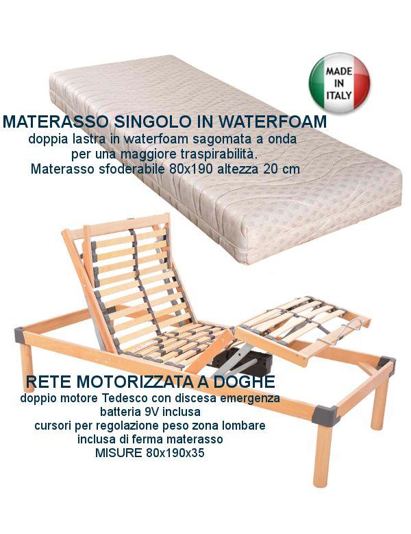Offerta Materasso Singolo 80x190.Rete Elettrica Doghe In Legno Motorizzata Con Materasso Ortopedico