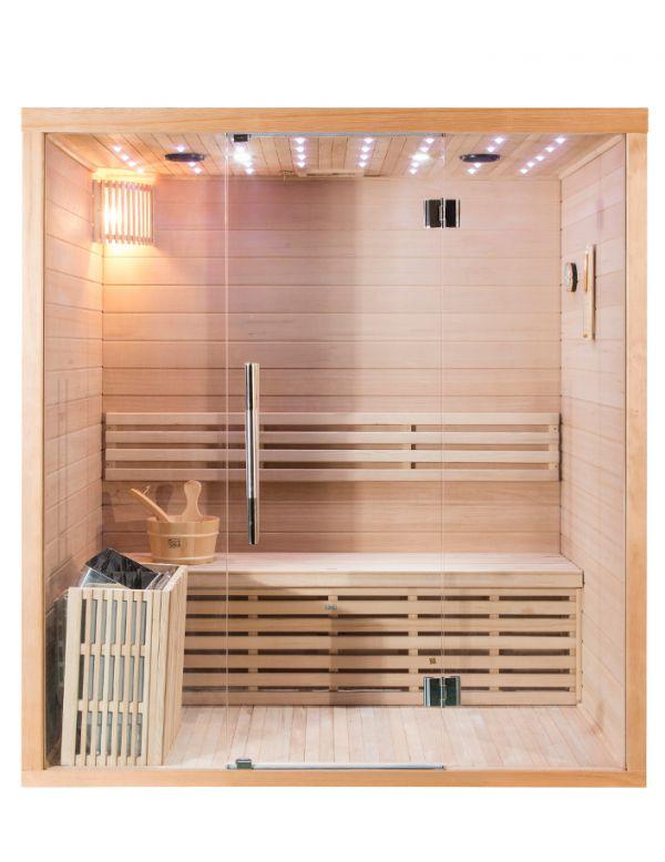 Sauna Finlandese 4 Posti Con Vetrata Frontale E Cielo Stelato