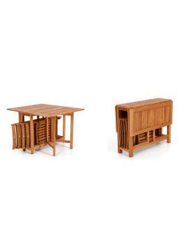 tavolo da giardinoin legno pieghevole con sedie