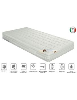 MATERASSO WATERFOAM 7 ZONE DI PORTANZA DIFFERENZIATA RIVESTIMENTO ANALLERGICO E ANTIBATTERICO CON PROBIOTICI ATTIVI SFODERABILE