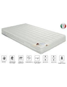 MATERASSO 120x190 WATERFOAM 7 ZONE DI PORTANZA DIFFERENZIATA RIVESTIMENTO ANTIBATTERICO CON PROBIOTICI ATTIVI SFODERABILE