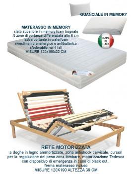 RETE ELETTRICA MOTORIZZATA AMMORTIZZATA CON MATERASSO MEMORY SFODERABILE CON GUANCIALE MEMORY 120X190