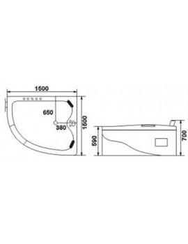Vasca da bagno idromassaggio angolare 2 posti 150x150 cm - Misure vasca da bagno angolare ...