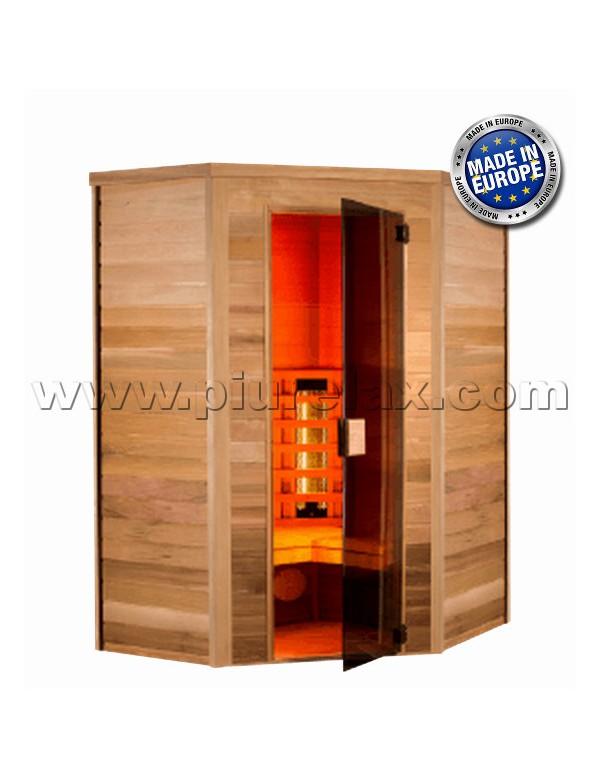 Sauna ad infrarossi 3 posti angolare con irradiatori al quarzo e magnesio