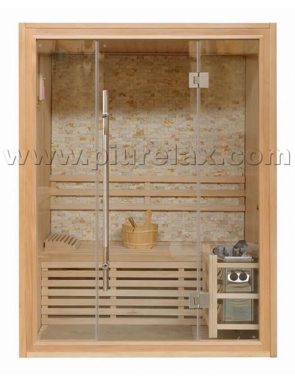 Sauna finlandese 3 posti con stufa harvia parete - Parete interna in pietra ...
